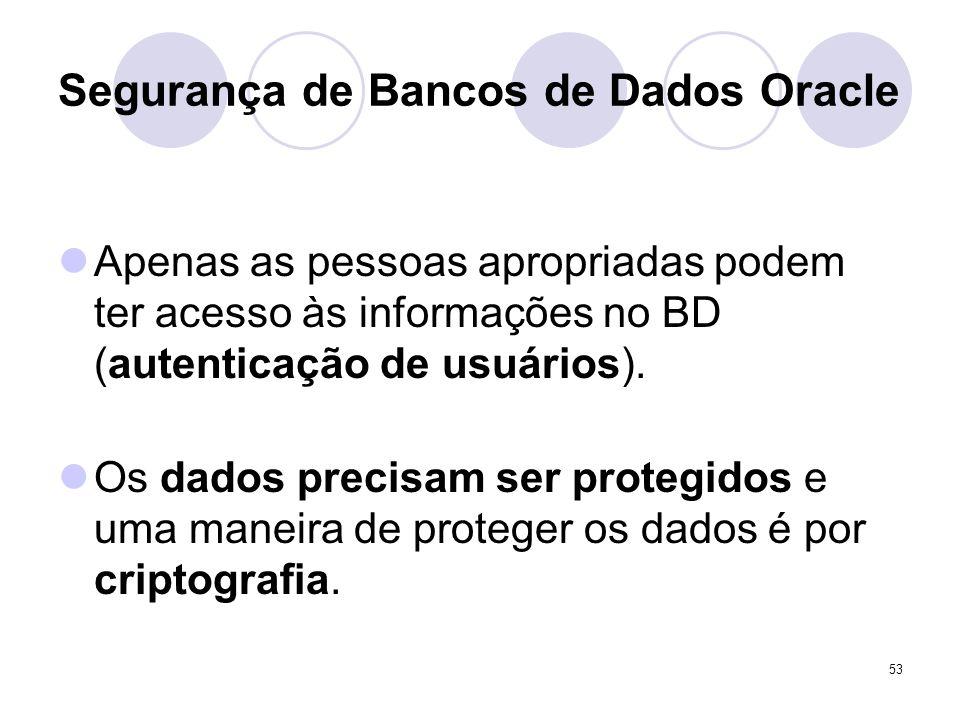 53 Segurança de Bancos de Dados Oracle Apenas as pessoas apropriadas podem ter acesso às informações no BD (autenticação de usuários). Os dados precis