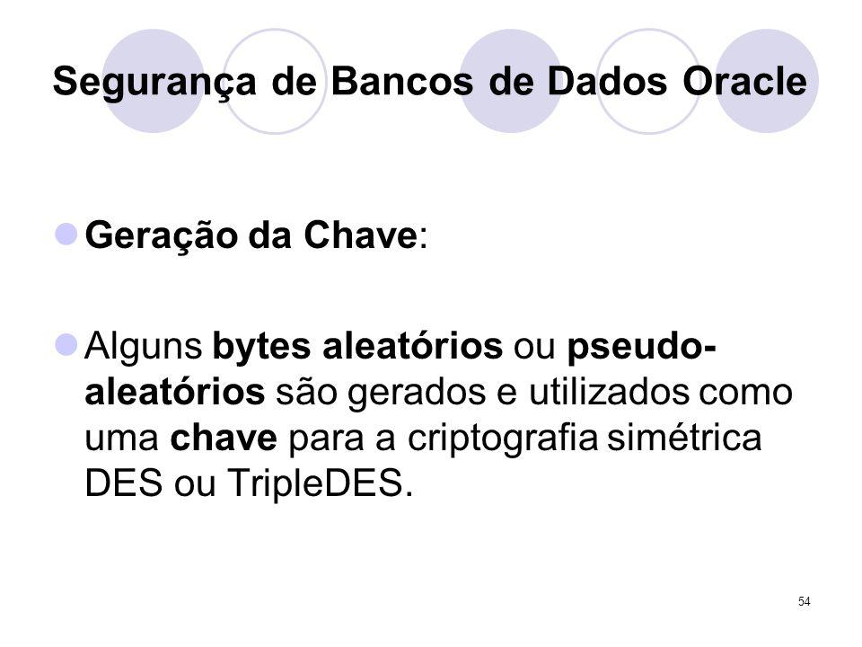 54 Segurança de Bancos de Dados Oracle Geração da Chave: Alguns bytes aleatórios ou pseudo- aleatórios são gerados e utilizados como uma chave para a criptografia simétrica DES ou TripleDES.