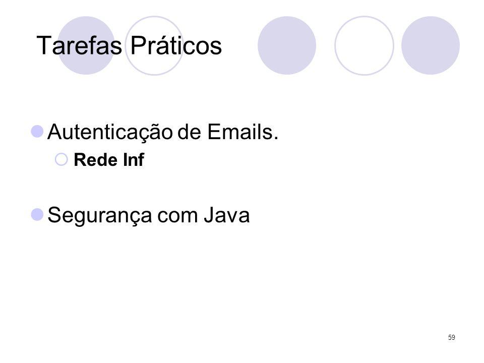 59 Tarefas Práticos Autenticação de Emails. Rede Inf Segurança com Java