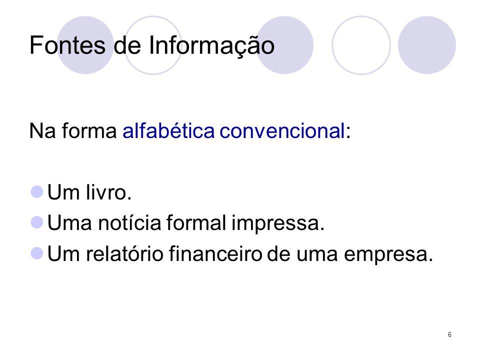 6 Fontes de Informação Na forma alfabética convencional: Um livro. Uma notícia formal impressa. Um relatório financeiro de uma empresa.