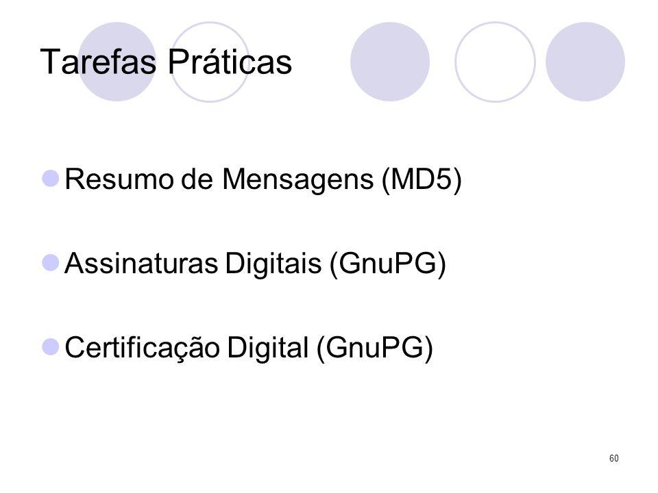 60 Tarefas Práticas Resumo de Mensagens (MD5) Assinaturas Digitais (GnuPG) Certificação Digital (GnuPG)