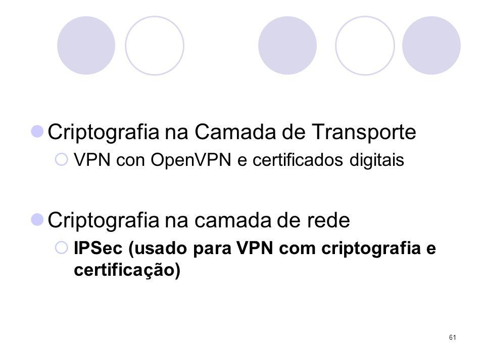61 Criptografia na Camada de Transporte VPN con OpenVPN e certificados digitais Criptografia na camada de rede IPSec (usado para VPN com criptografia