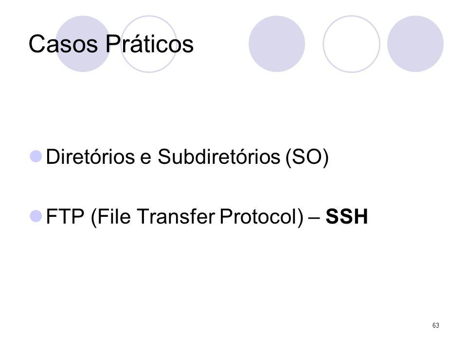 63 Casos Práticos Diretórios e Subdiretórios (SO) FTP (File Transfer Protocol) – SSH