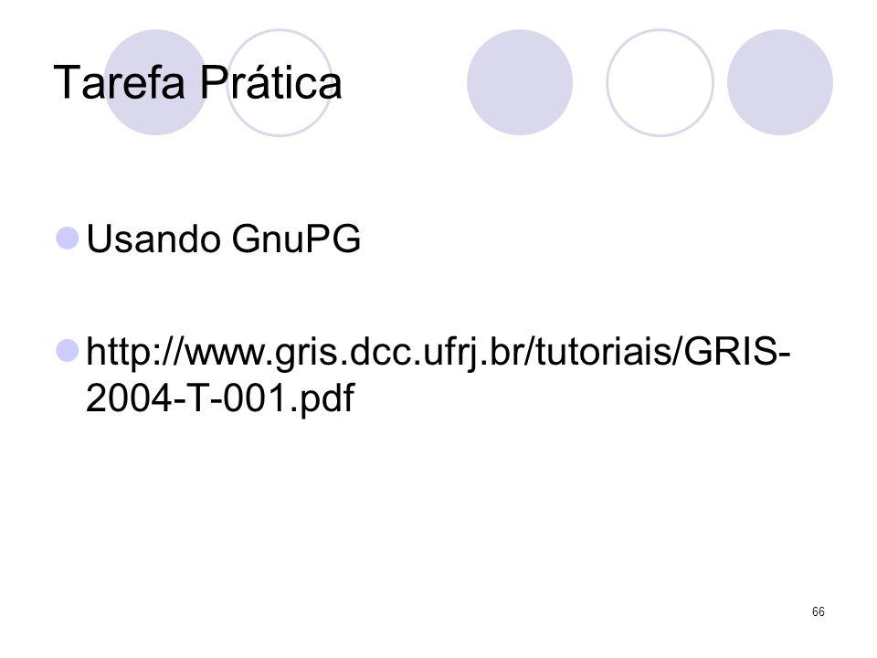 66 Tarefa Prática Usando GnuPG http://www.gris.dcc.ufrj.br/tutoriais/GRIS- 2004-T-001.pdf