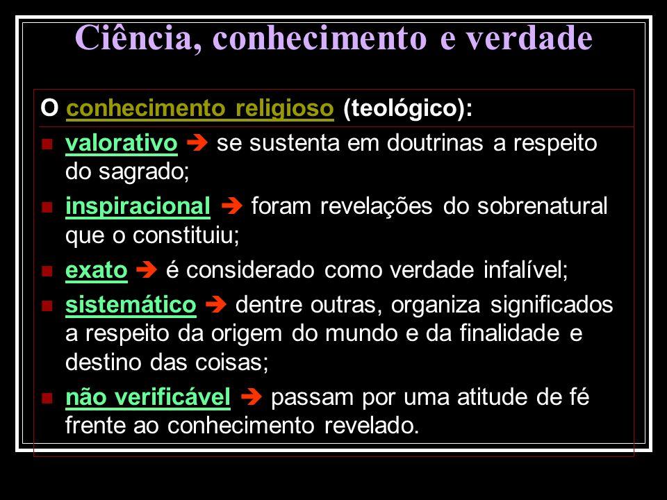 Ciência, conhecimento e verdade O conhecimento religioso (teológico): valorativo se sustenta em doutrinas a respeito do sagrado; inspiracional foram r
