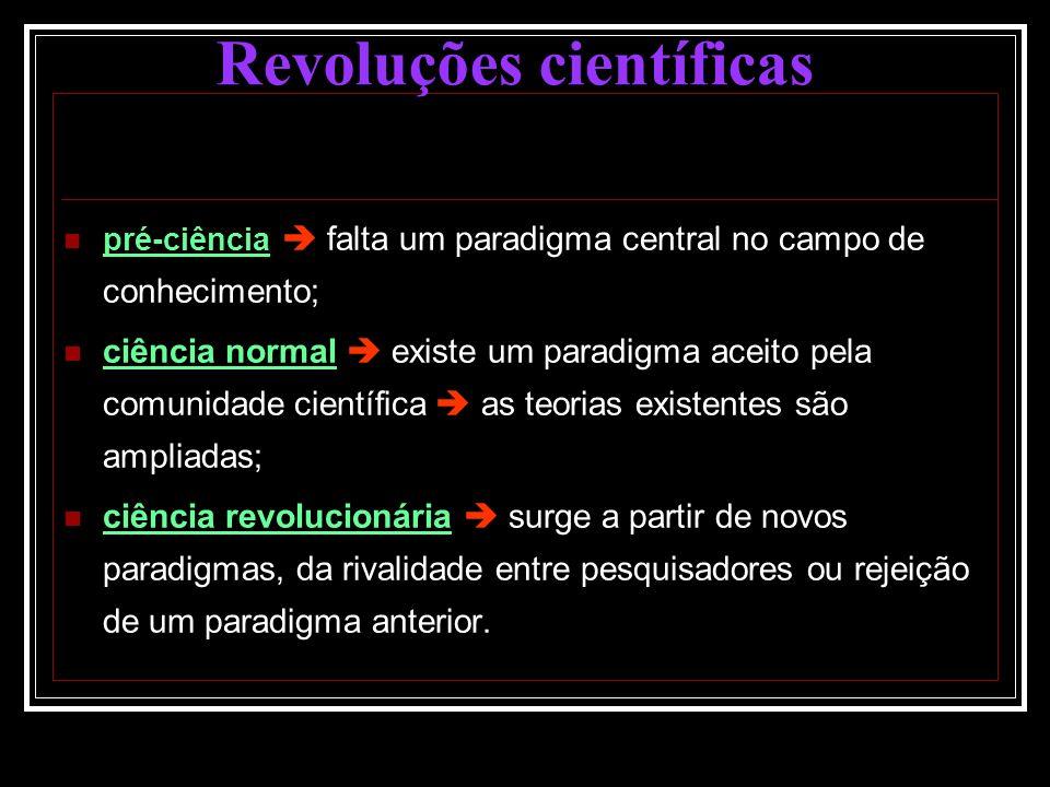 pré-ciência falta um paradigma central no campo de conhecimento; ciência normal existe um paradigma aceito pela comunidade científica as teorias exist
