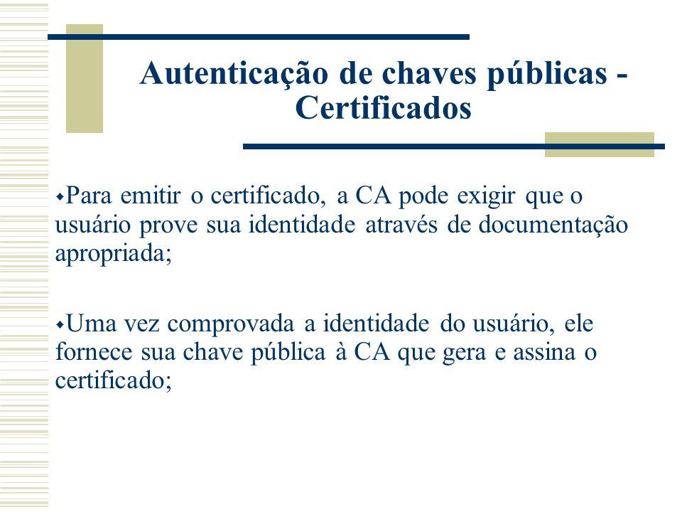 Um certificado atesta a veracidade de uma chave pública; O certificado é uma chave pública assinada por uma Autoridade de Certificação (CA) que atesta a autenticidade daquela chave pública como pertencente a uma determinada pessoa; Um dos padrões de certificado usualmente utilizados é definido pela norma ITU-T X.509 Autenticação de chaves públicas - Certificados