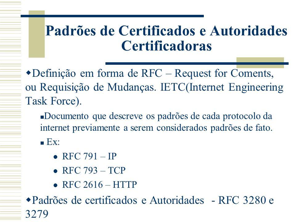 Um certificado X.509 contém as seguintes informações: Versão: Identifica a versão do formato do certificado; Numero de serie: numero seqüencial único para cada certificado emitido por uma CA.