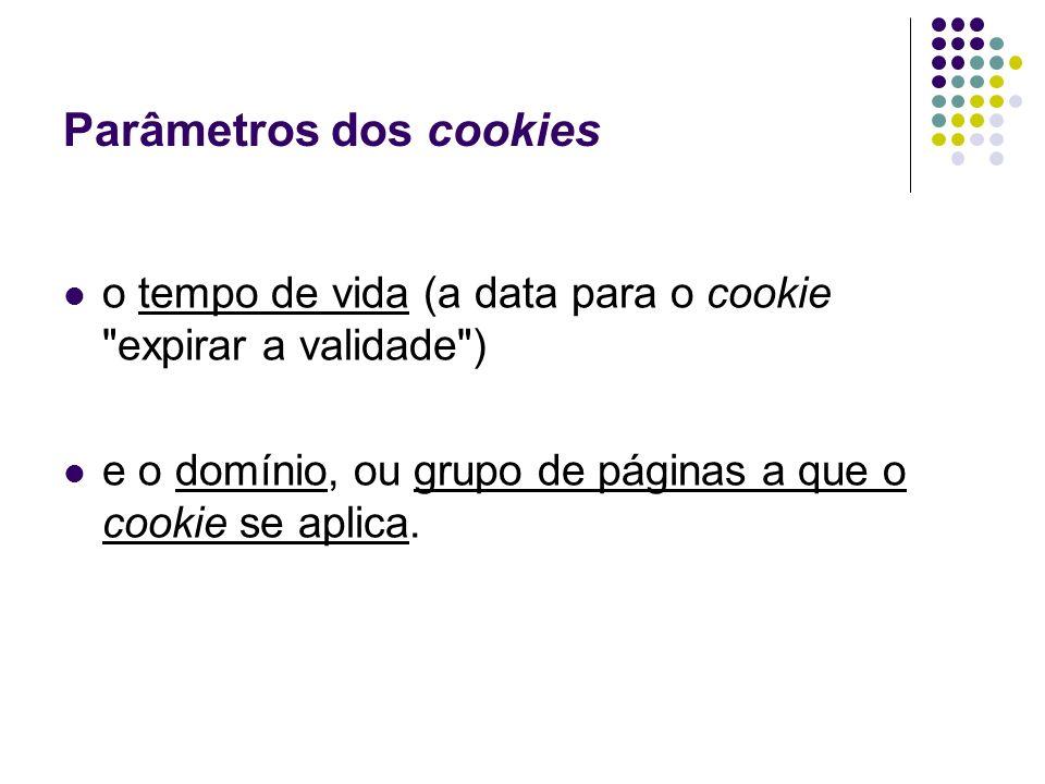 Parâmetros dos cookies o tempo de vida (a data para o cookie