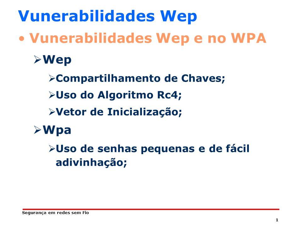1 Segurança em redes sem Fio Vunerabilidades Wep Vunerabilidades Wep e no WPA Wep Compartilhamento de Chaves; Uso do Algoritmo Rc4; Vetor de Inicialização; Wpa Uso de senhas pequenas e de fácil adivinhação;