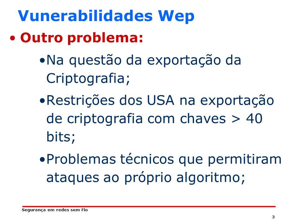 33 Segurança em redes sem Fio Vulnerabilidades WPA Uso pouco intuitivo Pois exige que sejam informadas várias características do tráfego como: –SSID; –Endereço MAC do cliente e do concentrador; –ANONCE(autenticador); –SNONCE(suplicante); –E o pacote inteiro no formato hexadecimal –Precisa de alternativas (ETHEREAL) para identificação dessas características Número de Mensagem único