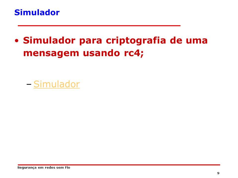 9 Segurança em redes sem Fio Simulador Simulador para criptografia de uma mensagem usando rc4; –SimuladorSimulador