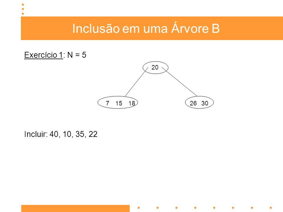 Inclusão em uma Árvore B Exercício 2: N = 5 Incluir: 14, 5, 30, 26, 40, 13, 15, 17 3 10 841620 25299