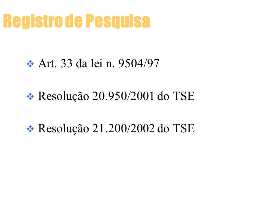 Art. 33 da lei n. 9504/97 Resolução 20.950/2001 do TSE Resolução 21.200/2002 do TSE Registro de Pesquisa