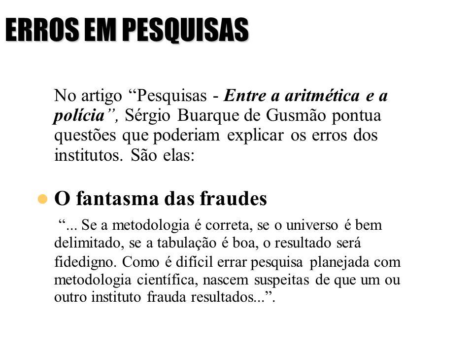 ERROS EM PESQUISAS No artigo Pesquisas - Entre a aritmética e a polícia, Sérgio Buarque de Gusmão pontua questões que poderiam explicar os erros dos i