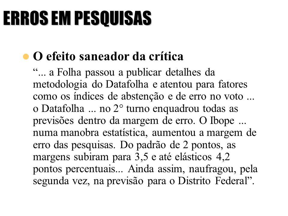 ERROS EM PESQUISAS O efeito saneador da crítica... a Folha passou a publicar detalhes da metodologia do Datafolha e atentou para fatores como os índic
