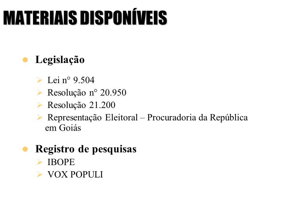 MATERIAIS DISPONÍVEIS Legislação Lei n° 9.504 Resolução n° 20.950 Resolução 21.200 Representação Eleitoral – Procuradoria da República em Goiás Regist