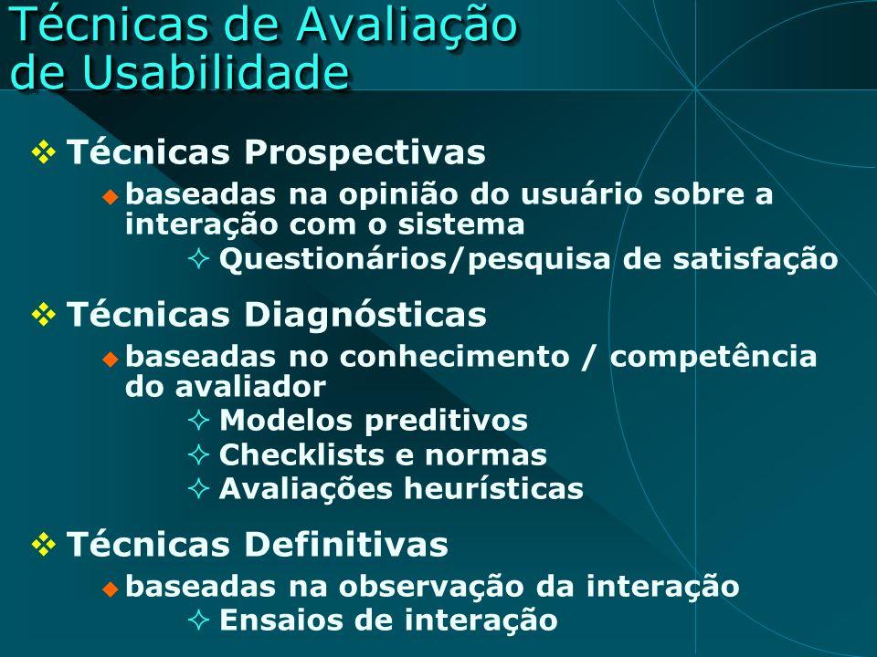 Técnicas Prospectivas baseadas na opinião do usuário sobre a interação com o sistema Questionários/pesquisa de satisfação Técnicas Diagnósticas basead