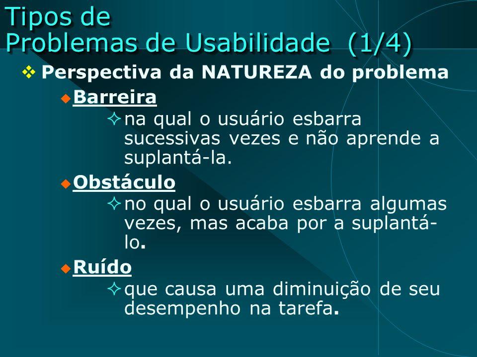 Tipos de Problemas de Usabilidade (1/4) Perspectiva da NATUREZA do problema Barreira na qual o usuário esbarra sucessivas vezes e não aprende a suplan