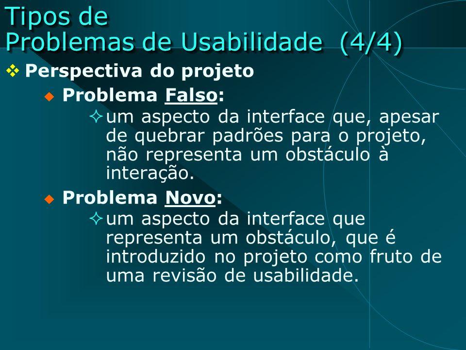 Tipos de Problemas de Usabilidade (4/4) Perspectiva do projeto Problema Falso: um aspecto da interface que, apesar de quebrar padrões para o projeto,