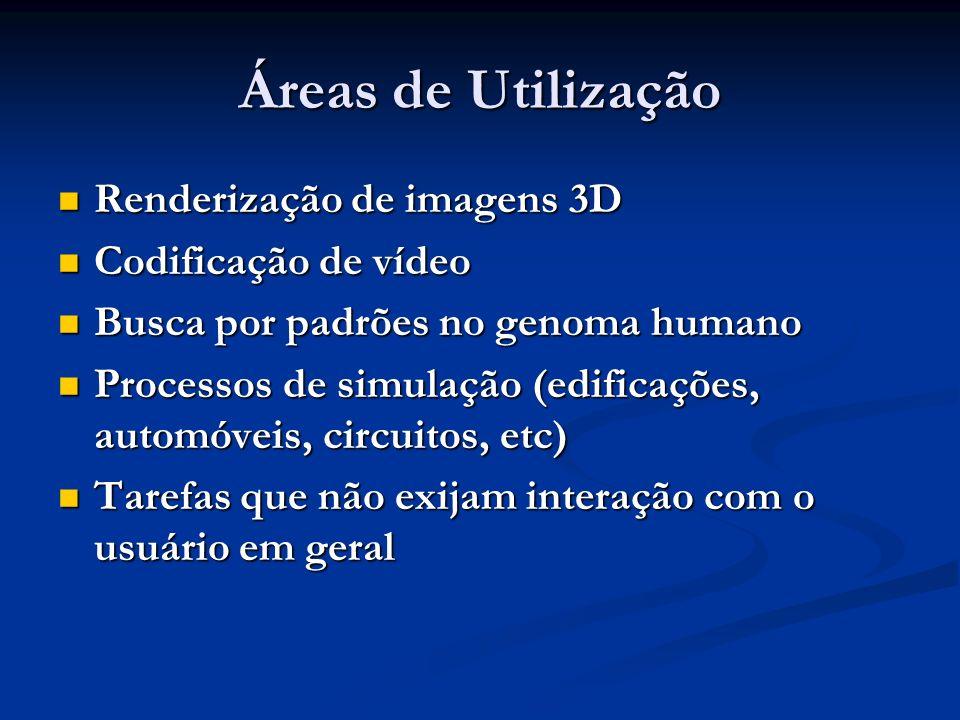 Áreas de Utilização Renderização de imagens 3D Renderização de imagens 3D Codificação de vídeo Codificação de vídeo Busca por padrões no genoma humano