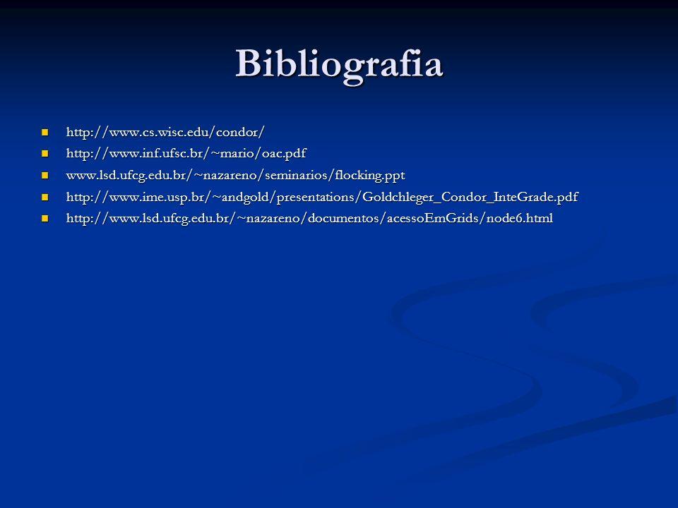 Bibliografia http://www.cs.wisc.edu/condor/ http://www.cs.wisc.edu/condor/ http://www.inf.ufsc.br/~mario/oac.pdf http://www.inf.ufsc.br/~mario/oac.pdf