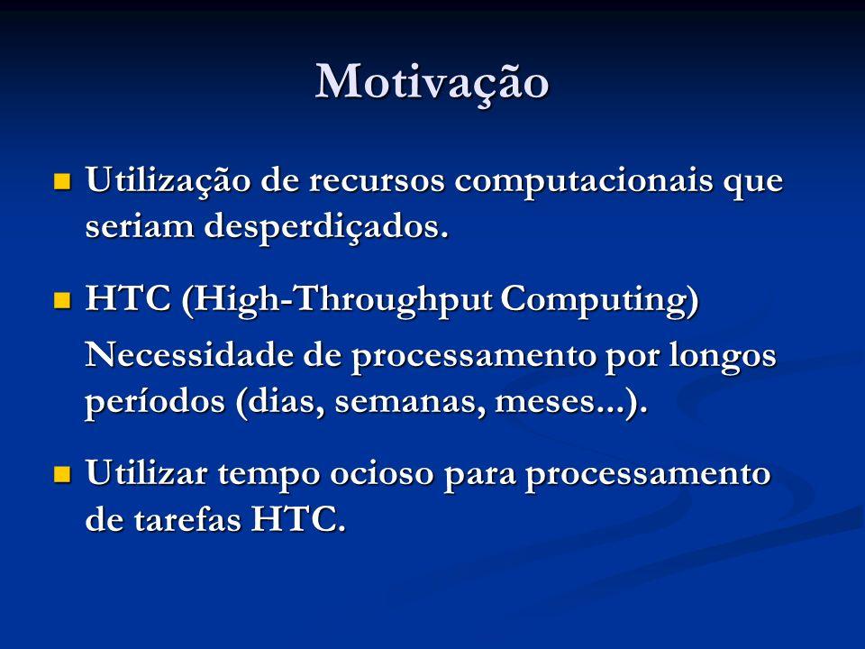 Motivação Utilização de recursos computacionais que seriam desperdiçados. Utilização de recursos computacionais que seriam desperdiçados. HTC (High-Th