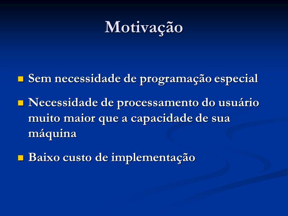 Motivação Sem necessidade de programação especial Sem necessidade de programação especial Necessidade de processamento do usuário muito maior que a ca