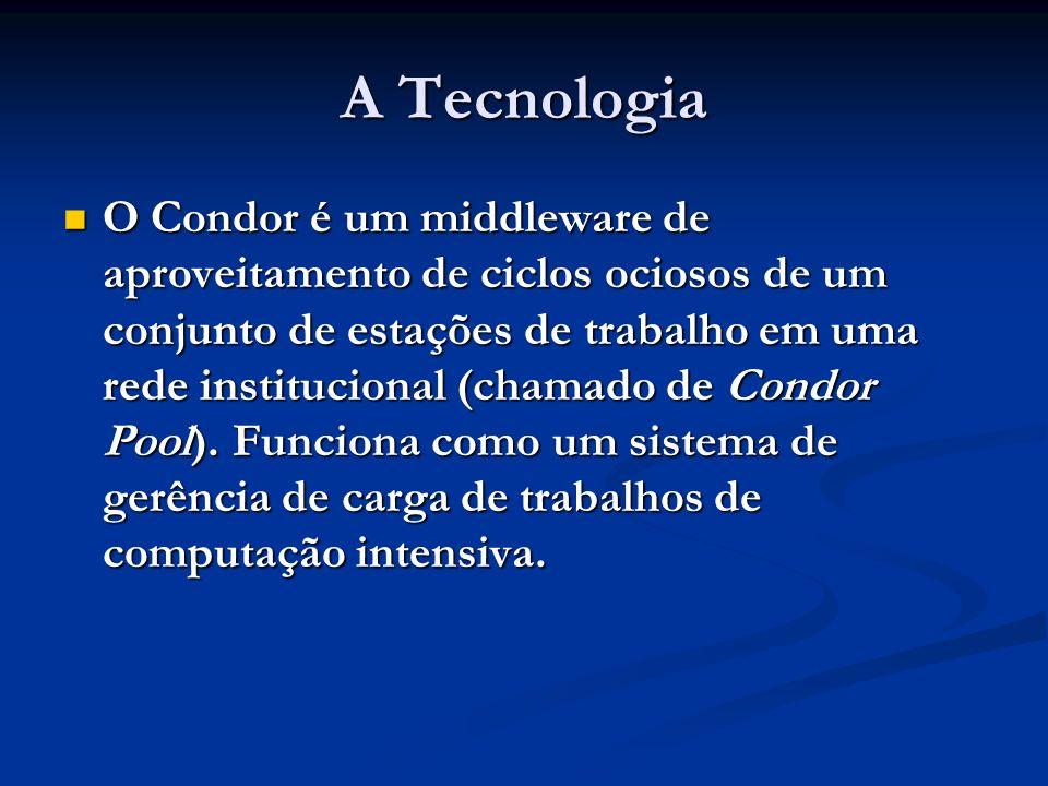 A Tecnologia O Condor é um middleware de aproveitamento de ciclos ociosos de um conjunto de estações de trabalho em uma rede institucional (chamado de