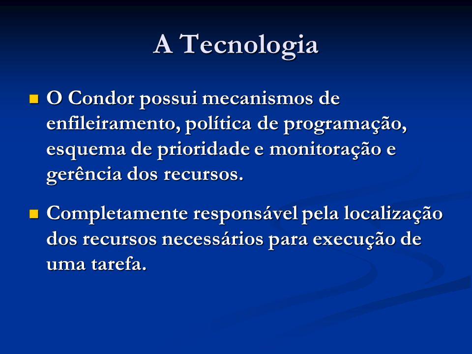 A Tecnologia O Condor possui mecanismos de enfileiramento, política de programação, esquema de prioridade e monitoração e gerência dos recursos. O Con