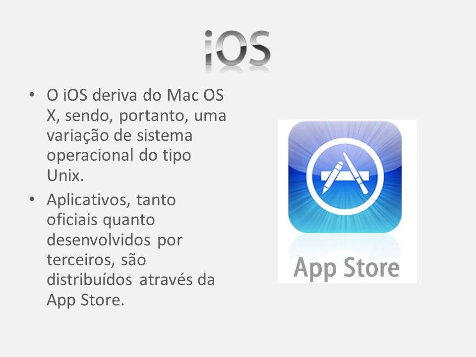 O iOS deriva do Mac OS X, sendo, portanto, uma variação de sistema operacional do tipo Unix.