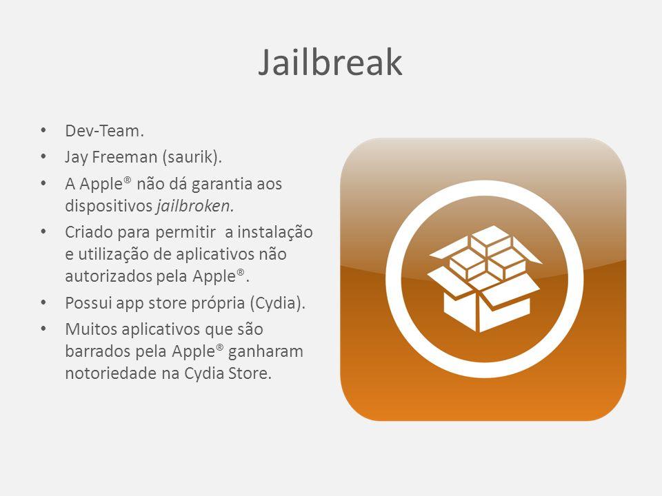 Jailbreak Dev-Team. Jay Freeman (saurik). A Apple® não dá garantia aos dispositivos jailbroken.