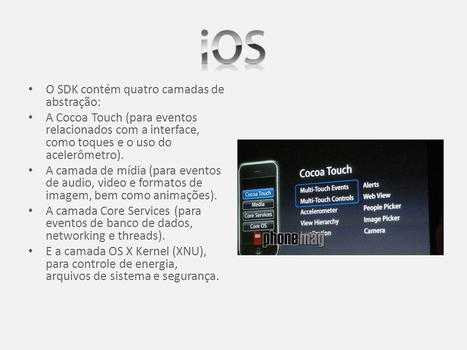 O SDK contém quatro camadas de abstração: A Cocoa Touch (para eventos relacionados com a interface, como toques e o uso do acelerômetro).