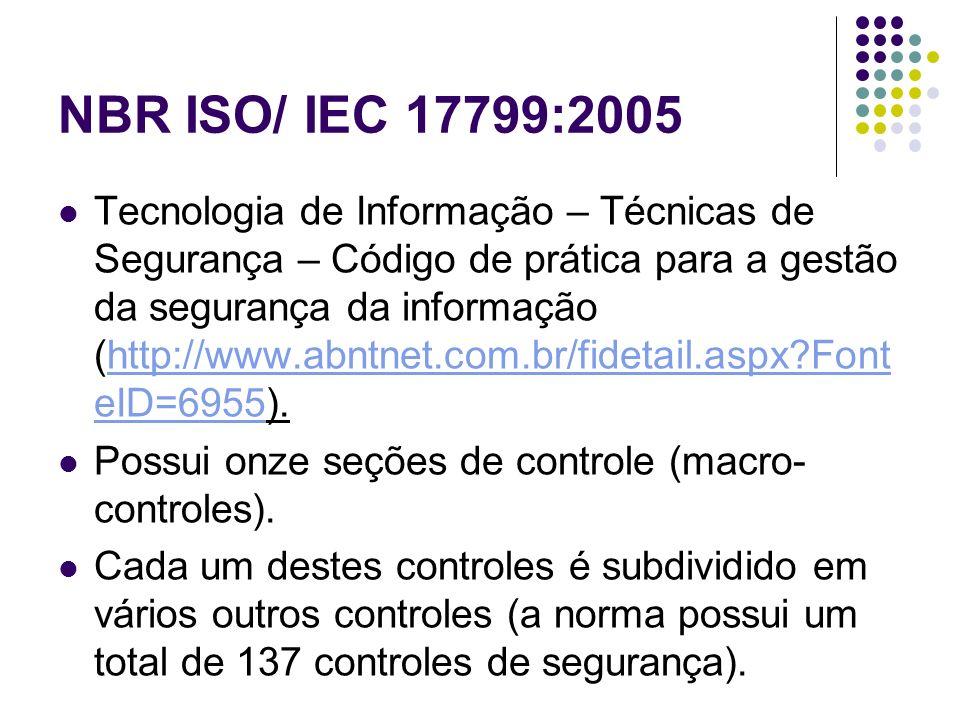 NBR ISO/ IEC 17799:2005 Tecnologia de Informação – Técnicas de Segurança – Código de prática para a gestão da segurança da informação (http://www.abnt