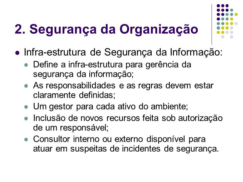 2. Segurança da Organização Infra-estrutura de Segurança da Informação: Define a infra-estrutura para gerência da segurança da informação; As responsa