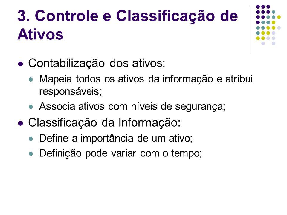 3. Controle e Classificação de Ativos Contabilização dos ativos: Mapeia todos os ativos da informação e atribui responsáveis; Associa ativos com nívei