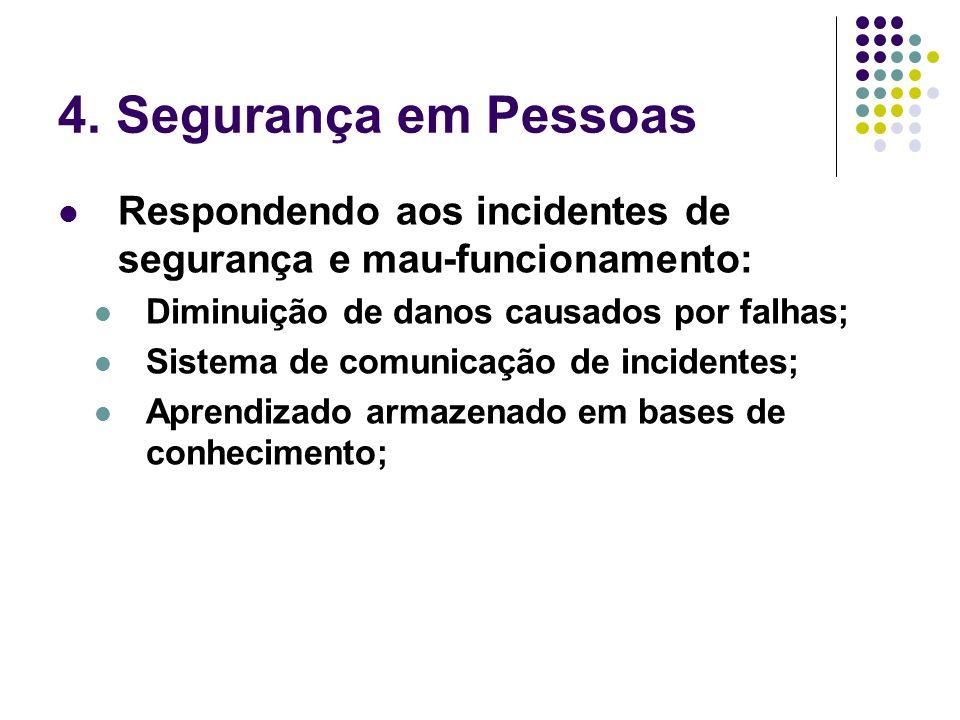 4. Segurança em Pessoas Respondendo aos incidentes de segurança e mau-funcionamento: Diminuição de danos causados por falhas; Sistema de comunicação d