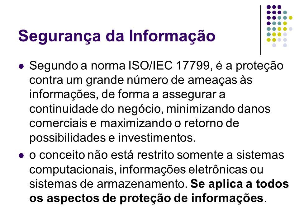 Segundo a norma ISO/IEC 17799, é a proteção contra um grande número de ameaças às informações, de forma a assegurar a continuidade do negócio, minimiz