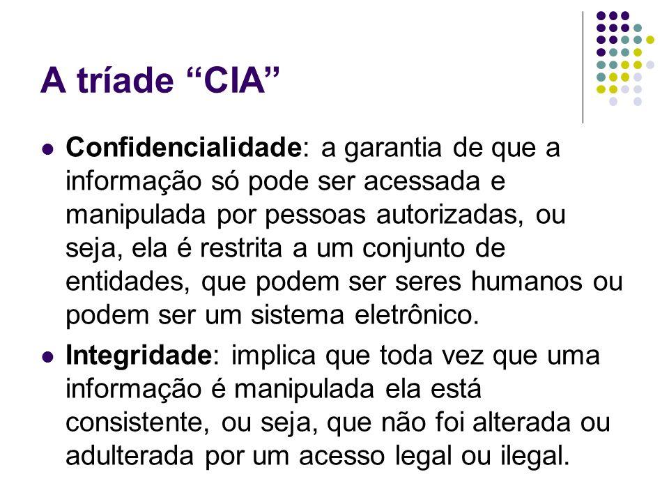 A tríade CIA Confidencialidade: a garantia de que a informação só pode ser acessada e manipulada por pessoas autorizadas, ou seja, ela é restrita a um