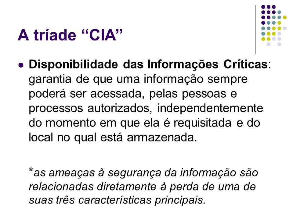 A tríade CIA Disponibilidade das Informações Críticas: garantia de que uma informação sempre poderá ser acessada, pelas pessoas e processos autorizado