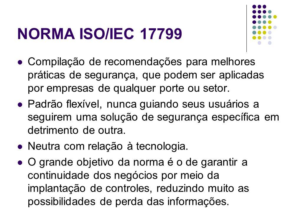 NORMA ISO/IEC 17799 Compilação de recomendações para melhores práticas de segurança, que podem ser aplicadas por empresas de qualquer porte ou setor.