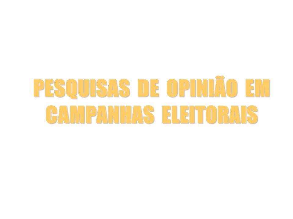 QUESTIONÁRIO Resultados para a mesma pergunta formulada de duas maneiras diferentes (Eleição para o governo do estado do Rio de Janeiro: pesquisa realizada em 20 e 21-8-1998) Resultados Pergunta aberta Pergunta fechada % % Garotinho 30,5 44,5 César Maia 17,4 29,3 Luiz Paulo 2,5 3,8 Outros candidatos + nulo e branco 15,5 15,8 Indecisos 30,5 5,9 Não respondeu 3,6 0,7 Alberto Carlos Almeida, Como são feitas as pesquisas eleitorais e de opinião, pg.81.