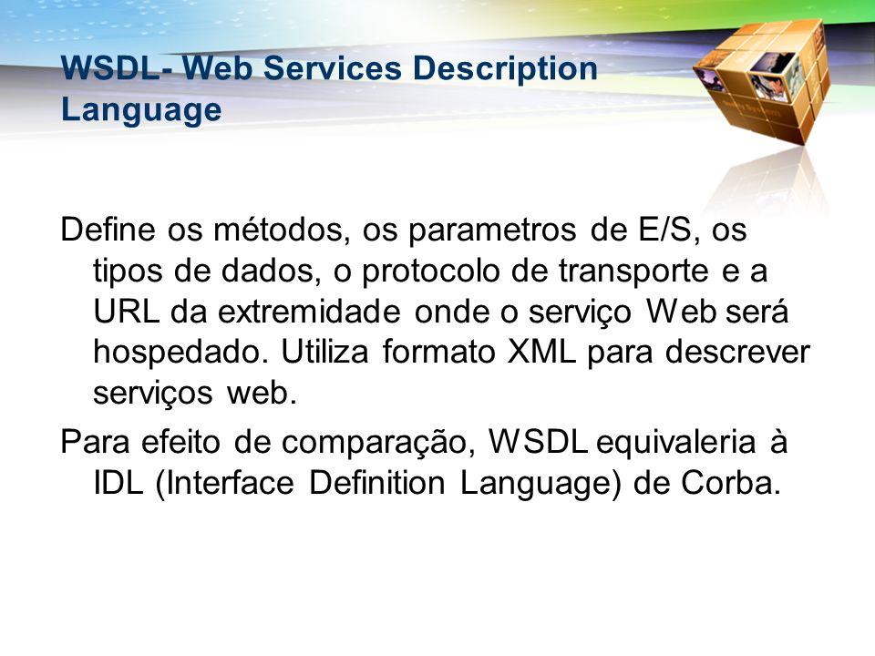 WSDL- Web Services Description Language Define os métodos, os parametros de E/S, os tipos de dados, o protocolo de transporte e a URL da extremidade onde o serviço Web será hospedado.