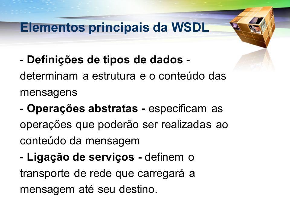 Elementos principais da WSDL - Definições de tipos de dados - determinam a estrutura e o conteúdo das mensagens - Operações abstratas - especificam as