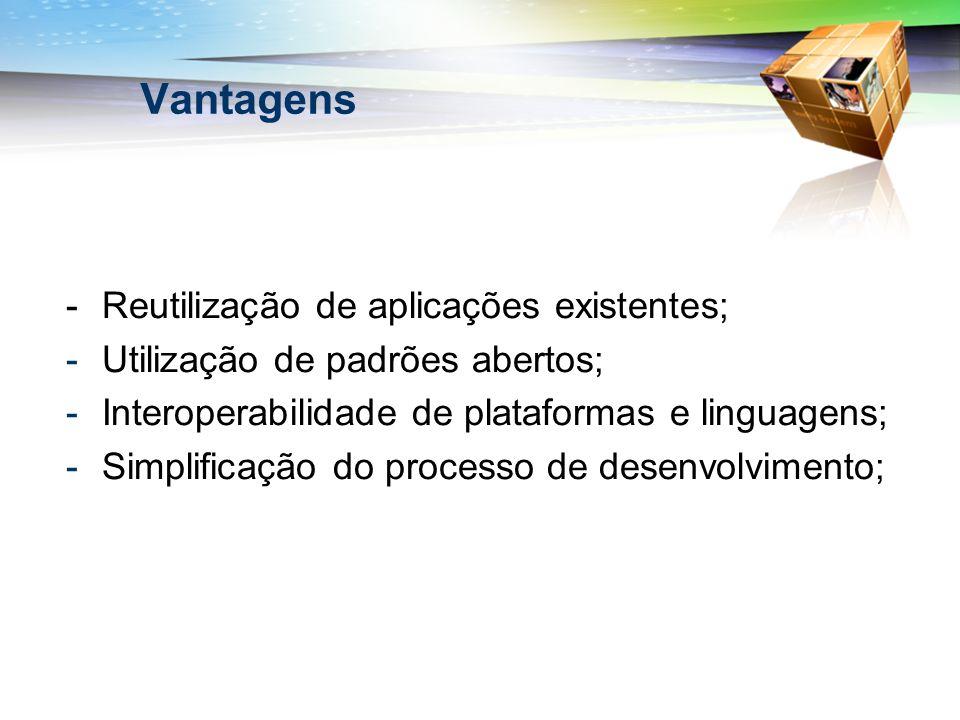 Vantagens -Reutilização de aplicações existentes; -Utilização de padrões abertos; -Interoperabilidade de plataformas e linguagens; -Simplificação do p