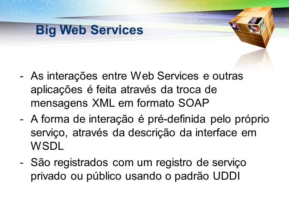 Big Web Services -As interações entre Web Services e outras aplicações é feita através da troca de mensagens XML em formato SOAP -A forma de interação é pré-definida pelo próprio serviço, através da descrição da interface em WSDL -São registrados com um registro de serviço privado ou público usando o padrão UDDI