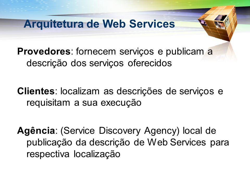 Provedores: fornecem serviços e publicam a descrição dos serviços oferecidos Clientes: localizam as descrições de serviços e requisitam a sua execução Agência: (Service Discovery Agency) local de publicação da descrição de Web Services para respectiva localização Arquitetura de Web Services
