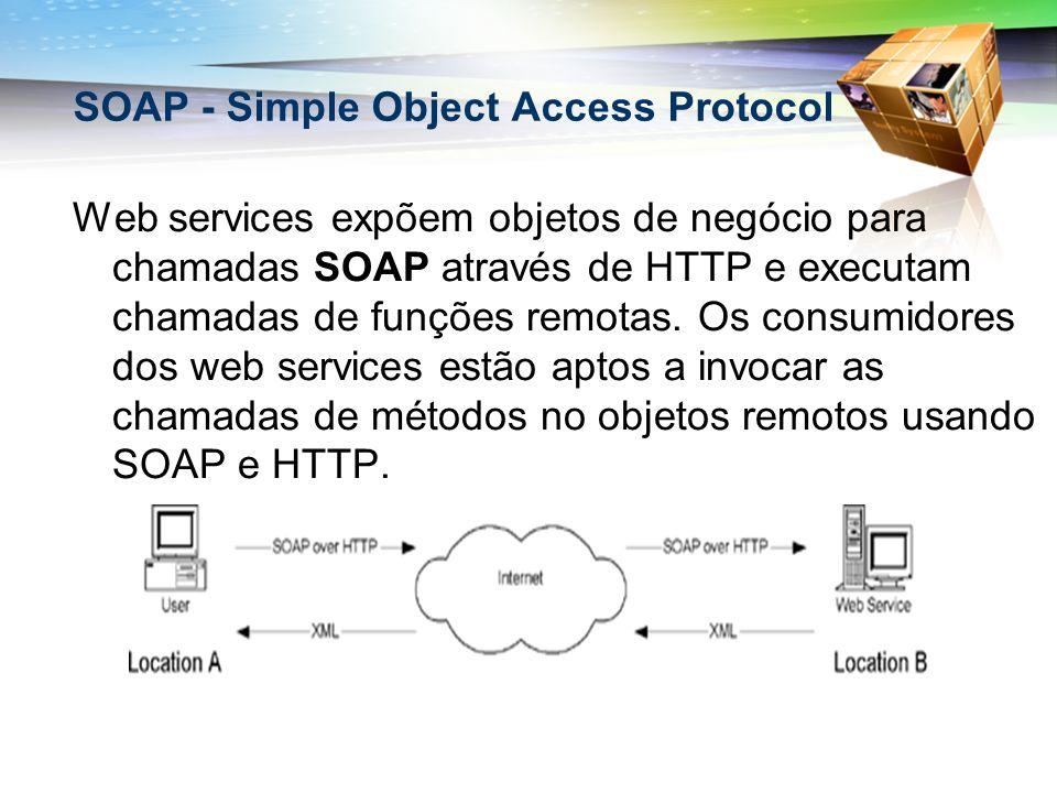 Web services expõem objetos de negócio para chamadas SOAP através de HTTP e executam chamadas de funções remotas. Os consumidores dos web services est