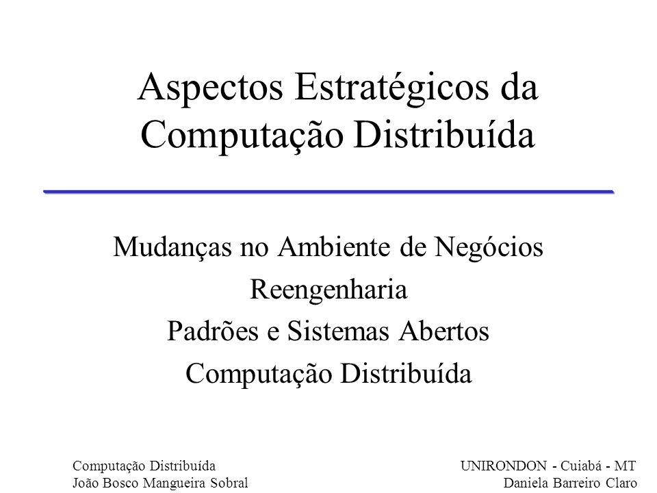 Aspectos Estratégicos da Computação Distribuída Mudanças no Ambiente de Negócios Reengenharia Padrões e Sistemas Abertos Computação Distribuída Comput