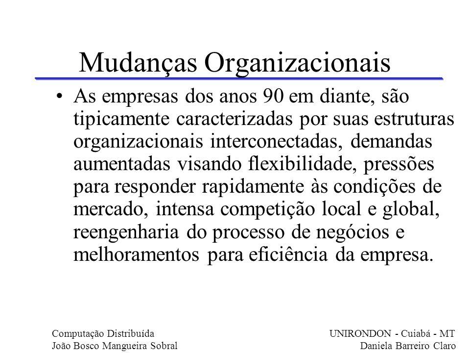 Mudanças Organizacionais As empresas dos anos 90 em diante, são tipicamente caracterizadas por suas estruturas organizacionais interconectadas, demand